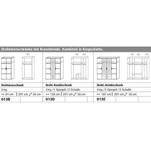Kleiderschrank weiß 3 Türen B 136 cm Schrank Drehtürenschrank Wäscheschrank Kinderzimmer Jugendzimmer Kinderkleiderschrank -