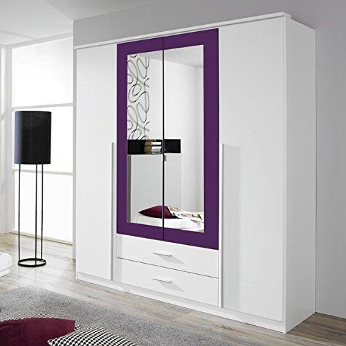 Kleiderschrank weiß / lila 4 Türen B 181 cm brombeer Schrank Drehtürenschrank Wäscheschrank Spiegelschrank Kinderzimmer Jugendzimmer -