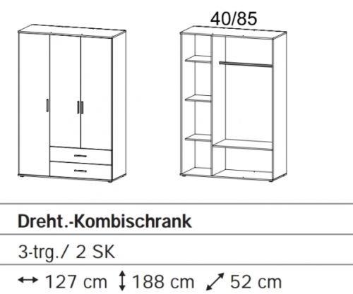 Rasant 3trg. Weiß Kleiderschrank Stauraumschrank Jugenzimmerschrank ca. 127 c... -