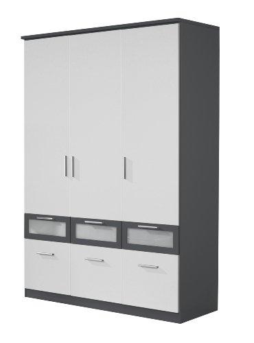 Rauch A7483.0R03 Drehtürenschrank Bochum-Extra / 3-türig / B 136 H 199 T 56 cm / Front: alpinweiß, Korpus und Absetzungen, grau-metallic -