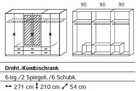 Rauch A9719.5F64 Drehtürenschrank Gamma / 6-türig / B 271 H 210 T 54 cm / Korpus/Front: alpinweiß -