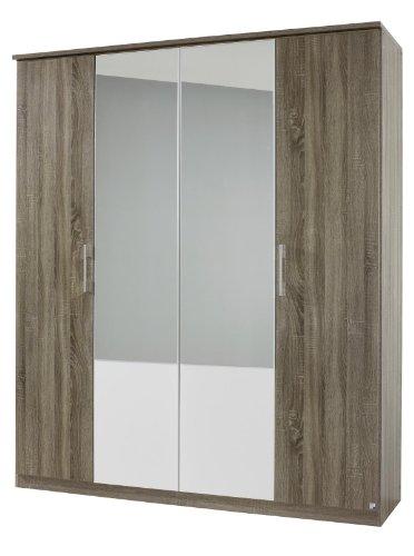 Rauch AJ087.086R Drehtürenschrank Arles, 4-türig, 2 Spiegeltüren, 181 x 212 x 56 cm, Dekor-Druck Eiche Havanna, Absetzungen alpinweiß -