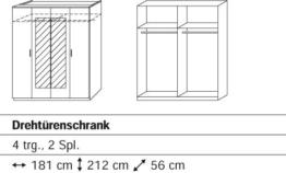 Rauch Busca Drehtürenschrank mit 4 Türen, 2 Spiegeltüren in Absetzungsfarbe und Kranzblende in alpinweiss - lavagrau -