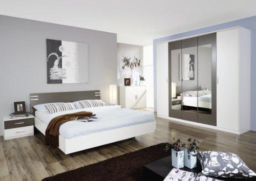 Rauch Busca Drehtürenschrank mit 5 Türen, 3 Spiegeltüren in Absetzungsfarbe und Kranzblende in alpinweiss - lavagrau -