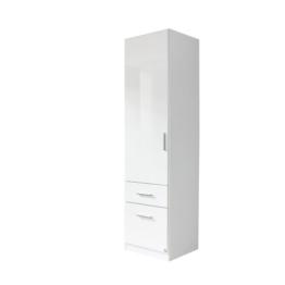 rauch Kleiderschrank Celle 1-trg. mit 2 Schubkästen, weiß/hochglanz weiß Türanschlag links -