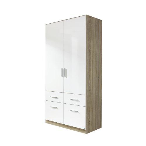 rauch Kleiderschrank Celle 2-trg., Eiche Sonoma Dekor/hochglanz weiß -