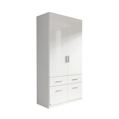 rauch Kleiderschrank Celle, 2trg. Hochglanz weiß mit 1 breiten Kleiderstange, B/H/T CA.91/197/54CM -