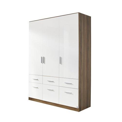 rauch Kleiderschrank Celle 3-trg., Kernnuss Dekor/hochglanz weiß -