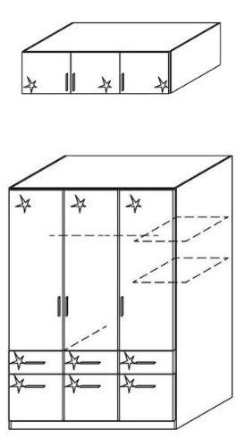 rauch Kleiderschrank Celle, 3trg. Hochglanz weiß mit Aufsatz, B/H/T CA.181/236/54CM -