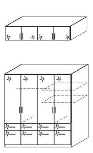rauch Kleiderschrank Celle, 4trg. Hochglanz weiß mit Aufsatz, B/H/T CA.181/236/54CM -