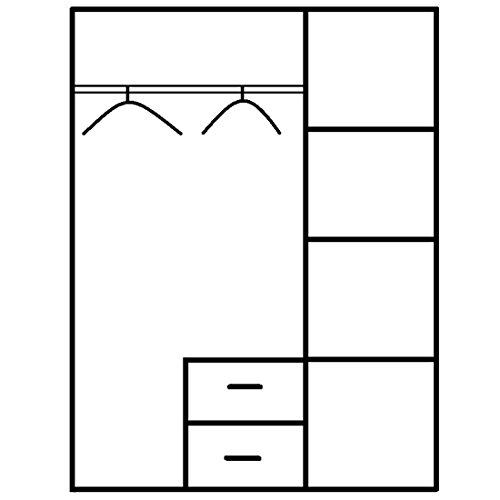 ROLLER Drehtürenschrank CUBI - Sonoma Eiche - 127 cm breit -