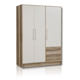 ROLLER Kleiderschrank JUPITER - Eiche-weiß - 3 Schubladen - 145 cm breit -