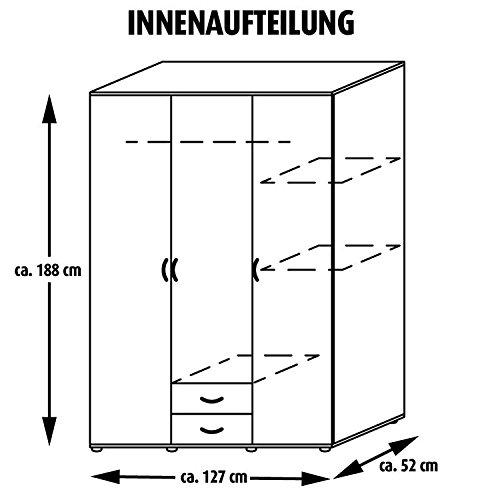 ROLLER Kleiderschrank TWIN - Buche - 127 cm breit -