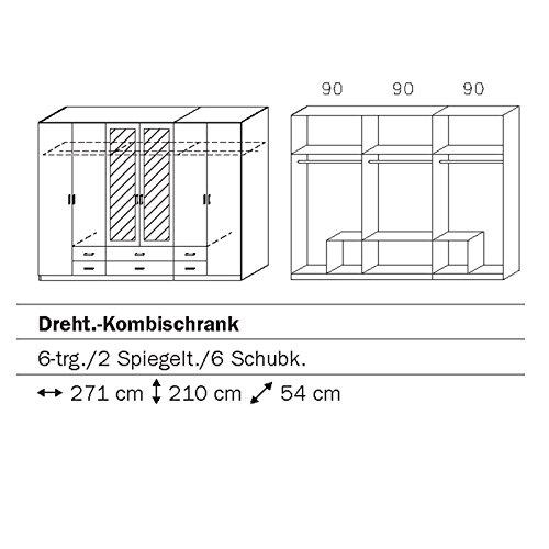ROLLER Kombi-Drehtürenschrank GAMMA - weiß-Eiche Stirling - 271 cm -