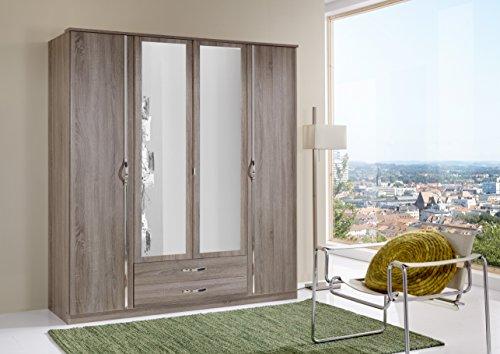 Wimex 066453 Kleiderschrank 4-türig mit zwei Schubkästen und zwei Spiegeltüren, montana Eiche Nachbildung / aufleistung Chrom -