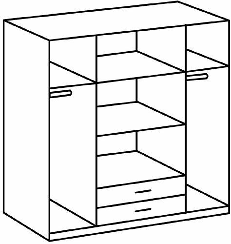 Wimex 078453 Kleiderschrank 4-türig mit zwei Schubkästen und zwei Spiegeltüren, alpinweiß / aufleistungchrom -