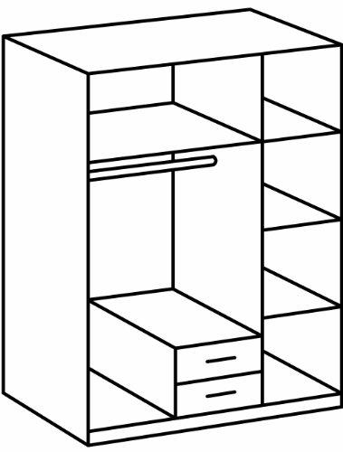 Wimex 078484 Kleiderschrank, 3-türig mit zwei Schubkästen und einer Spiegeltür, 135 x 198 x 58 cm, aufleistungen chrom -