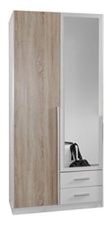 Wimex 119210 Kleiderschrank, 2-türig mit zwei Schubkästen und einer Spiegeltür, Front Korpus Außentüren Eiche Sägerau Nachbildung, 90 x 198 x 58 cm -