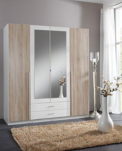 Wimex 119453 Kleiderschrank, 4-türig mit zwei Schubkästen und zwei Spiegeltüren, Front Korpus Außentüren Eiche Sägerau Nachbildung, 180 x 198 x 58 cm -