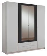 Wimex 153453 Kleiderschrank, 4-türig mit zwei Schubkästen und zwei Spiegeltüren, Korpus, 180 x 198 x 58 cm, anthrazit -