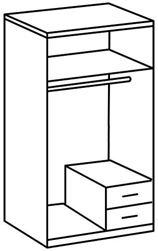 Wimex 166210 Kleiderschrank, 2-türig mit zwei Schubkästen und einer Spiegeltür, Korpus Montana Eiche Nachbildung, 90 x 198 x 58 cm, alpinweiß -