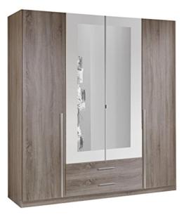 Wimex 166453 Kleiderschrank, 4-türig mit zwei Schubkästen und zwei Spiegeltüren, Korpus Montana Eiche Nachbildung, 180 x 198 x 58 cm, alpinweiß -