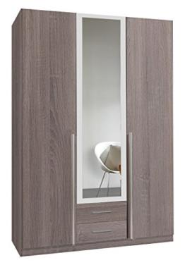 Wimex 166484 Kleiderschrank, 3-türig mit zwei Schubkästen und einer Spiegeltür, Korpus Montana Eiche Nachbildung, 135 x 198 x 58 cm, alpinweiß -