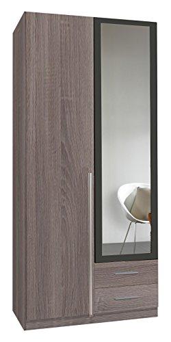 Wimex 167210 Kleiderschrank, 2-türig mit zwei Schubkästen und einer Spiegeltür, Korpus Montana Eiche Nachbildung, 90 x 198 x 58 cm, lavafarbig -