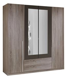 Wimex 167453 Kleiderschrank, 4-türig mit zwei Schubkästen und zwei Spiegeltüren, Korpus Montana Eiche Nachbildung, 180 x 198 x 58 cm, lavafarbig -