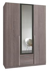 Wimex 167484 Kleiderschrank, 3-türig mit zwei Schubkästen und einer Spiegeltür, Korpus Montana Eiche Nachbildung, 135 x 198 x 58 cm, lavafarbig -