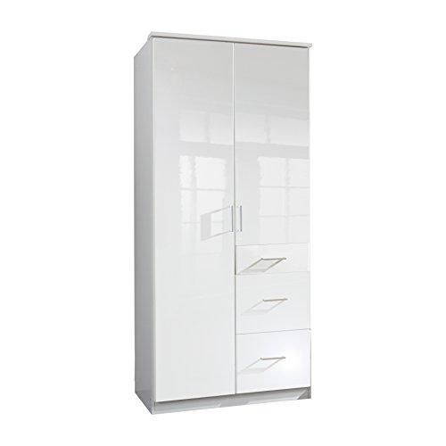 Wimex 243624 Drehtürenschrank, Holz, weiß/alpinweiß, 58 x 90 x 199 cm -