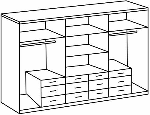 Wimex 404542 Kleiderschrank 270 / 210 / 58 cm 6-türig mit acht großen und vier kleinen Schubkästen, San Remo Eiche Nachbildung, Absetzungen aslpinweiß -