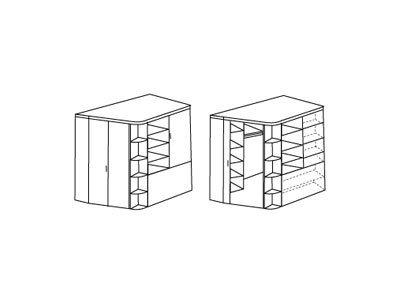 Begehbarer Eckschrank mit Falttür in San Remo Eiche-Nachbildung mit Absetzungen in Alpinweiß, Maße: B/H/T ca. 124/198/148 cm -