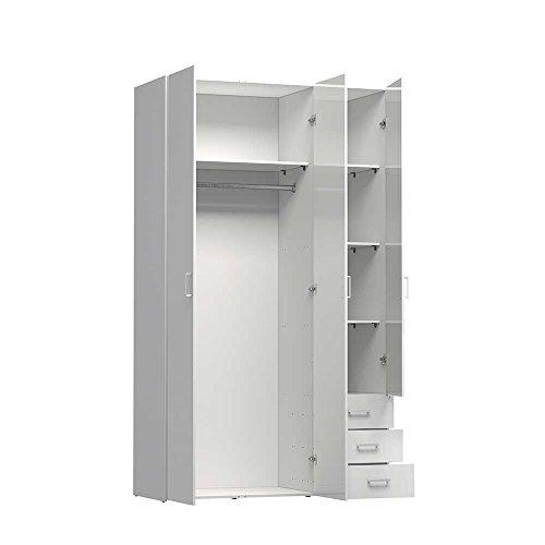Design Schlafzimmerschrank in Hochglanz Weiß modern Pharao24 -