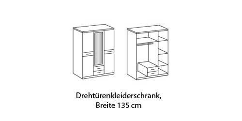 Drehtürenschrank 3-trg. in Alpinweiß mit Absetzungen in Hochglanz Schwarz, Maße: B/H/T ca.135/200/60 cm -