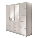 Drehtürenschrank Bali 4D, Kleiderschrank mit Spiegel, Schubladen und Spiegeltüren, Elegantes Schlafzimmer schrank, Jugendzimmer (Weiß) -