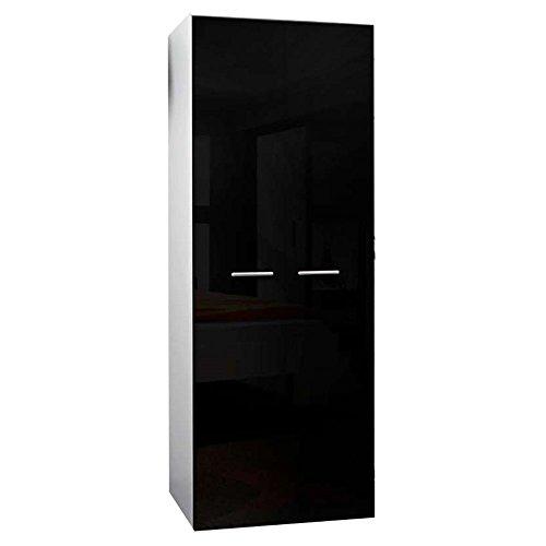JUSThome 2D Drehtürenschrank Kleiderschrank Garderobenschrank (HxBxT): 190x70x55 cm Weiß Matt / Schwarz Hochglanz -