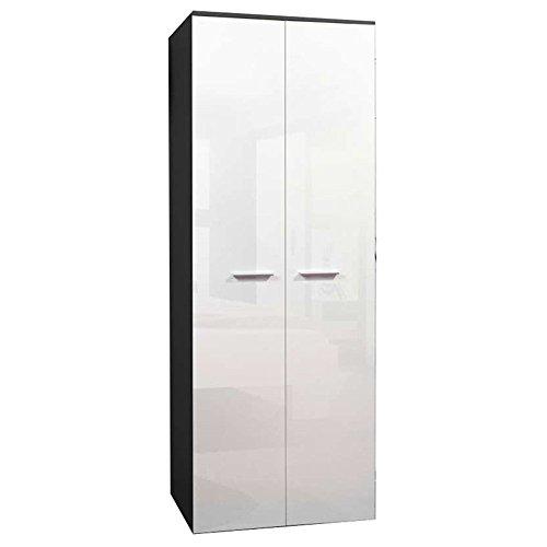JUSThome 2D Drehtürenschrank Kleiderschrank Garderobenschrank (HxBxT): 190x70x55 cm Schwarz Matt / Weiß Hochglanz -