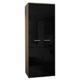 JUSThome 2D Drehtürenschrank Kleiderschrank Garderobenschrank (HxBxT): 190x70x55 cm Sonoma Eiche / Schwarz Hochglanz -