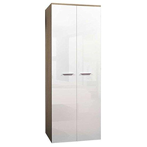 JUSThome 2D Drehtürenschrank Kleiderschrank Garderobenschrank (HxBxT): 190x70x55 cm Sonoma Eiche / Weiß Hochglanz -