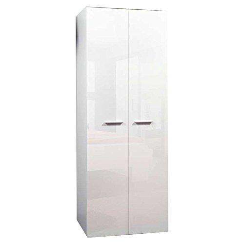 JUSThome 2D Drehtürenschrank Kleiderschrank Garderobenschrank (HxBxT): 190x70x55 cm Weiß Matt / Weiß Hochglanz -