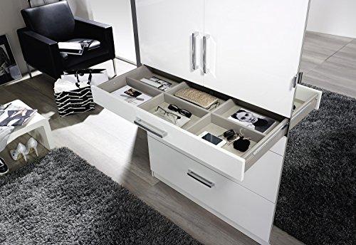 Kleiderschrank 3 Türen B 136 cm Hochglanz weiß Schrank Drehtürenschrank Wäscheschrank Kinderzimmer Jugendzimmer Schlafzimmer -