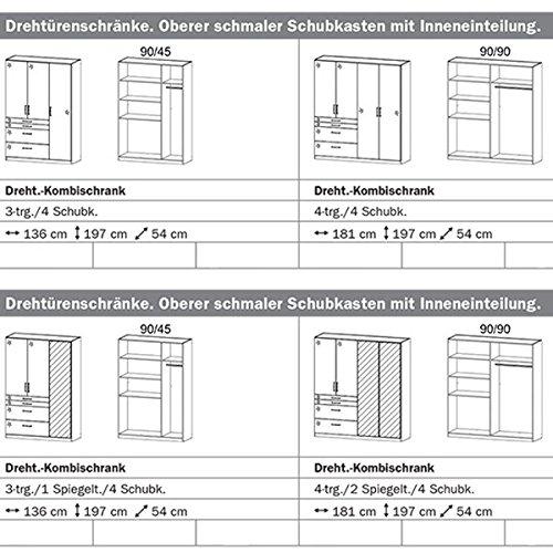 Kleiderschrank 4 Türen B 181 cm Hochglanz weiß Schrank Drehtürenschrank Wäscheschrank Kinderzimmer Jugendzimmer Schlafzimmer -