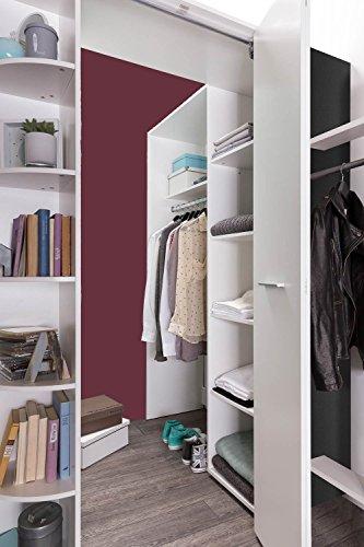 Kleiderschrank, Eckschrank, Eckkleiderschrank, Schlafzimmerschrank, Jugendzimmerschrank, Kinderzimmerschrank, alpinweiß, anthrazit, begehbar -