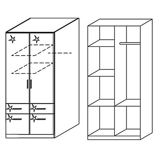 Kleiderschrank Hochglanz weiß 2 Türen B 91 cmSchrank Drehtürenschrank Kinderzimmer Jugendzimmer Kinderzimmerschrank -