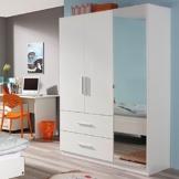 Kleiderschrank Hochglanz weiß 3 Türen B 136 cm Schrank Drehtürenschrank Wäscheschrank Kinderzimmer Jugendzimmer Kinderzimmerschrank -