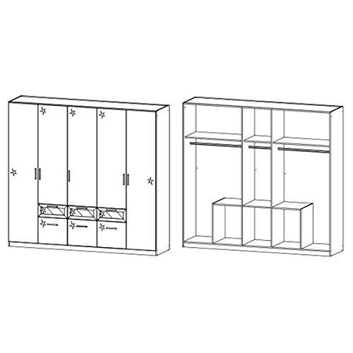 Kleiderschrank hochglanz weiß 5 Türen B 226 cm Schrank Drehtürenschrank Wäscheschrank Kinderzimmer Jugendzimmer -