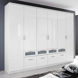 Kleiderschrank Hochglanz weiß 6 Türen B 271 cm Schrank Drehtürenschrank Wäscheschrank Kinderzimmer Jugendzimmer -