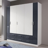 Kleiderschrank hochglanz weiß / grau Hochglanz B 181 cm Schrank Drehtürenschrank Wäscheschrank Spiegelschrank Kinderzimmer Jugendzimmer -
