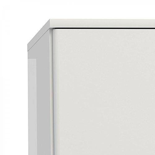 Kleiderschrank NAIA Drehtürenschrank Schrank Weiß Hochglanz -